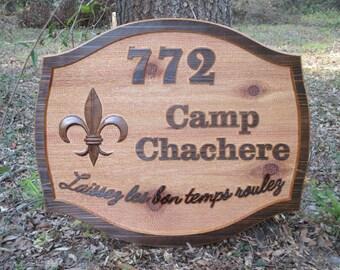 Custom Outdoor Name Sign Cedar Personalized Sign Fleur de Lis Outside Name Signs Custom Address Sign Home Address Sign Personalized Family