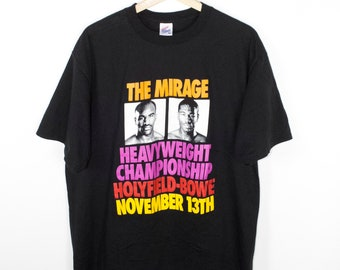 evander holyfield vs riddick bowe t shirt - vintage - november 13th 1992 - mirage las vegas - boxing - heavyweight champion