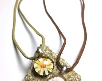 Daisy Duo, Set Glass Pendant Necklaces