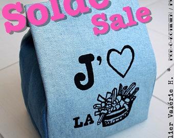 Lunch Bag, Screen-Print J'aime la poutine – I love poutine OR Tiger