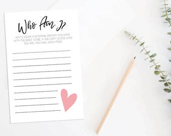 Who Am I Game . Who Am I Bridal Shower Game . Printable Memories of the Bride Game . Bridal Shower Ice Breaker .Instant Download . 005BDS