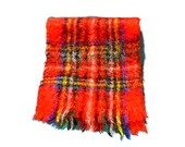 Vintage Wool Mohair Plaid Scarf Heather Brae Eaton's Scotland Winter Accessory Red Green Blue