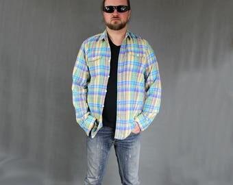Vintage Plaid Casual Flannel Shirt, 1990s Button Down Lumberjack Thin Shirt, Unisex Blue Yellow Oversized Workout Boyfriend Blazer, Size L