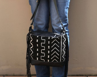 Black Leather Fringe Purse - Black Leather Festival Bag - Black Leather Cross Body Bag