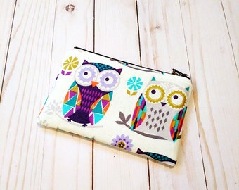 Owls On White Small Zipper Pouch
