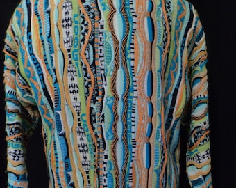 """Vintage 90s, """"Milano Tex"""" Sweater, (Coogi-like - Made in Lebanon) - (Men's: 2XL, 3XL?), Textures, Hip Hop, Cosby Sweater, Huxtable Sweater"""