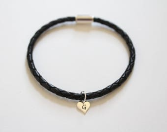 Leather Bracelet with Sterling Silver G Letter Heart Charm, Silver Tiny Stamped G Initial Heart Charm Bracelet, Letter G Charm Bracelet, G