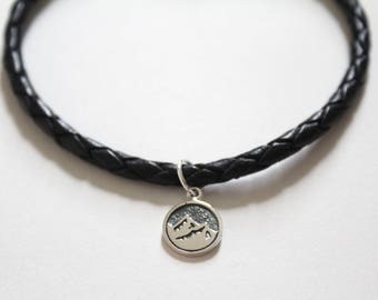 Leather Bracelet with Sterling Silver Earth Element Charm, Earth Element Charm Bracelet, Earth Element Bracelet, Mountain Bracelet, Mountain