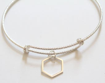 Sterling Silver Bracelet with Sterling Silver Hexagon Charm, Hexagon Bracelet, Silver Hexagon Bracelet, Sterling Silver Honeycomb Bracelet