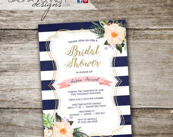 Navy and Gold Bridal Shower Invitation • Navy Stripe Wedding Shower Invitation • Floral Bridal Brunch • Navy and Gold Wedding Shower