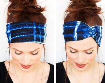 Indigo Blue Turban Watercolor Paint Headband Workout Headband Yoga Headband Blue Headband Head wrap Turban Women accessories Gift for Her