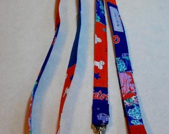 OOAK Fabric Dog Leash Small Dog Leash Dog Lead Multi Fabric Orange Blue