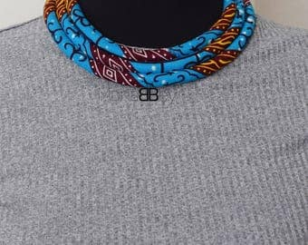 Blue African Fabric Necklace, Bib Necklace, Ankara Necklace, Afro Necklace, Collier Africain