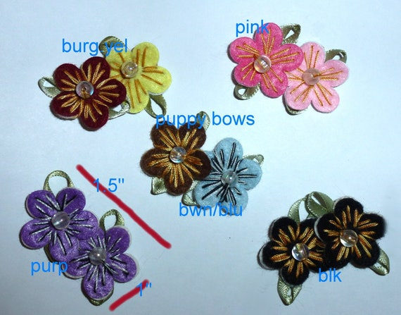 Puppy Dog Bows ~ Sweet Hawaiian hibiscus flower clips pet hair bow choose barrette style and color (fb86)