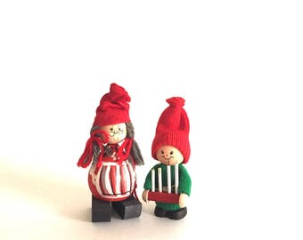 Pair of Vintage Handmade Swedish Christmas Figurines - Scandinavian Christmas Decor