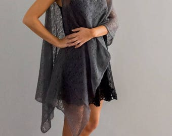 Charcoal Knitwear Lace Cape with Ostrich feather necktrim