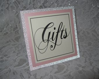 """Silver Glitter, Pink Shimmer & Ivory """"Gifts"""" Tented Table Cards Signs - #748"""