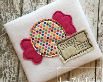 Sweet Thing candy shabby chic applique embroidery design - candy appliqué design - Halloween appliqué design - Christmas appliqué design