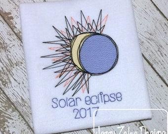 Solar Eclipse 2017 sketch embroidery design - solar eclipse embroidery design - sketch embroidery design - sun embroidery design - moon