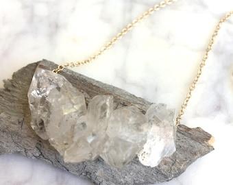 Herkimer Diamond Necklace, Herkimer Necklace, Herkimer, raw crystal necklace, Herkimer Diamonds, herkimer diamond jewelry, bridal necklace