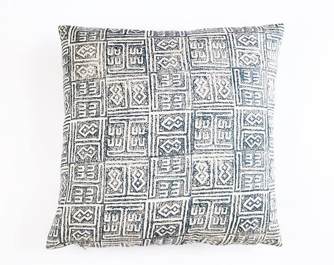 READY TO SHIP  Hand Block Printed Indigo Linen Pillow Cover Various Sizes