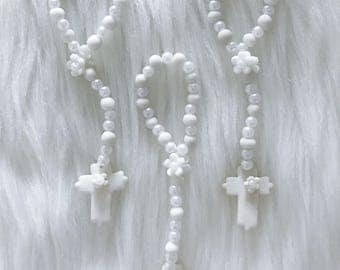12 Delicate Cold Porcelain Rosary // First Communion Favors // Holy Communion // Religious Favors // Baptism Favors // Wedding Favors