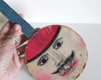 Antique Banjo Toy Made in Czechoslovakia, Great Graphics, Made of Wood, Metal & Cardcoard, Banjo Player, Toy Musical Instrument