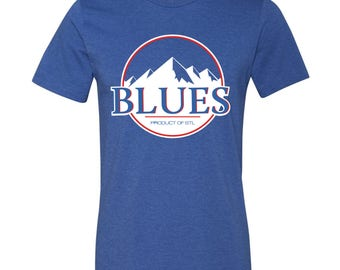 St. Louis Blues Hockey Mountains Short Sleeve Heather Royal Blue T-Shirt / Saint Louis / Retro / Throwback