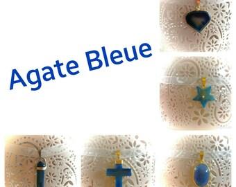 Agate necklace blue