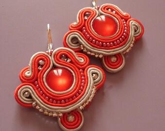Soutache Earrings Red/Grey