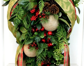 Clearance! Christmas Evergreen Swag with Berries, Christmas Swag, Holiday Swag, Evergreen Christmas Swag, Christmas Door Hanger, Christmas