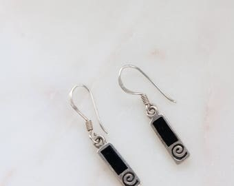 Sterling Drop Earrings - Black Enamel Earrings