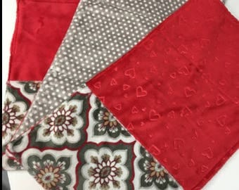 Three Handmade Red Baby Burp Cloths