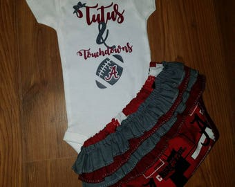 Football Onesie. Ruffled Diaper Cover. Baby Bloomers. Tutus & Touchdowns. Shirt. Customized Outfit.