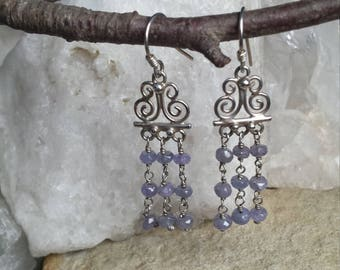 Sterling Silver Earrings with Tanzanite Beads