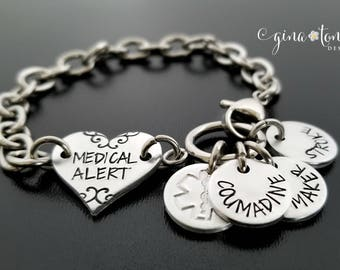 Medical ID Bracelet, Medical Alert Bracelet, Personalized Medical Bracelet, Custom Emergency Bracelet, Allergy Bracelet, Diabetes Jewelry