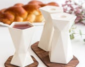 Modern Judaica Shabbat set Pair of double sided  candlesticks + Kiddush cup, white ceramic, Wedding gift, made in Israel