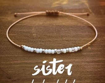 Sister Morse Code Bracelet - Best Friend Gift - Gift for Her - Sister Bracelet - Friendship Bracelet - Beaded Bracelet - Personalized Gift