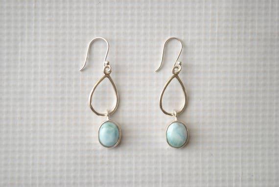 Sterling Silver Larimar Dangling Oval Earrings #9059