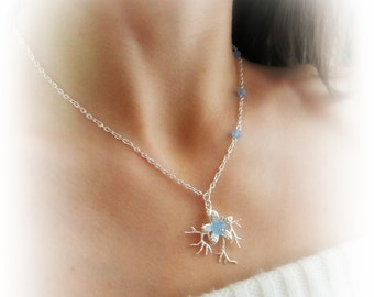Silver branch necklace blue stone bead chain necklace tree branch sky blue flower necklace twigs charm necklace gift for her italian jewelry