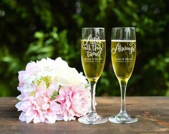 Wedding Toasting Glasses, Always Harry Potter Wedding Champagne Glasses, Customized Flutes for Wedding, Set of Toasting Flutes