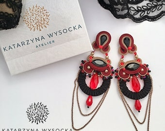 soutache earrings steampunk gothic jewelry black chandelier earrings black and red beadwork jewelry orecchini pendientes boucles d'oreilles