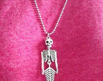 Mermaid Skeleton Halloween Day of the Dead Bendable Hinged Pendant Necklace You Select Your Chain Length