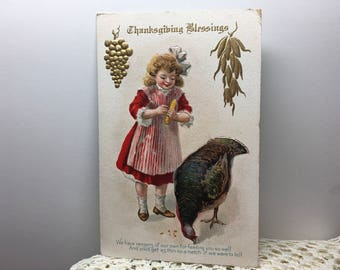 Thanksgiving Blessings antique 1910 post card