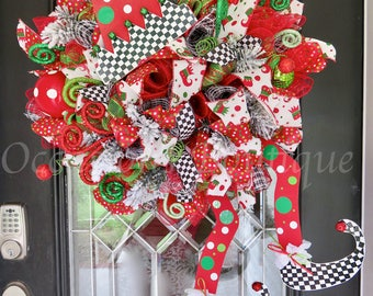 Whimsical Christmas Wreath, Holiday Wreath, Christmas Door Hanger, Christmas Decoration, Elf Wreath, Whimsical Decor, Front door wreath