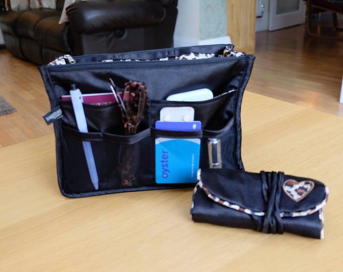 Luxury Purse ORGANIZER Insert, Purse Insert, Bag Organizer, Handbag Organizer,  Black and animal print satin with matching jewellery roll