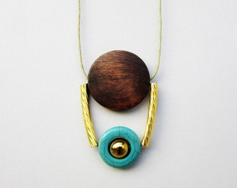 Brown, Turquoise and Gold Necklace, Wooden Necklace, Boho Necklace, Geometric Necklace, Tribal Necklace, Long Necklace, Natural Stone