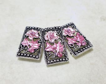 Swarovski, Crystal, Flower, Slider, Spacer, Double Strand, Component, Connector, Bracelet, Rose, Pink, Jewelry, Beading, Supply, Supplies