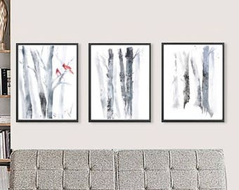 Set of 3 Wall Art, Set of 3 Prints, Three Piece Wall Art Birch Prints, Matching Art, Grey Wall Decor, Tree Watercolor Painting, Large Art
