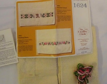 Vintage Creative Circle Trailing Roses Towels FREE Shipping USA